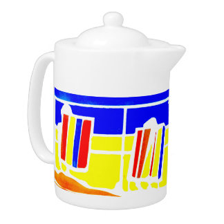 Pot de thé de bord de la mer de promenade de