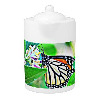 Pot de thé de papillon de monarque