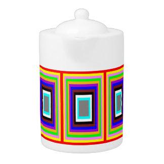 Pot de thé : Motif coloré de rectangles