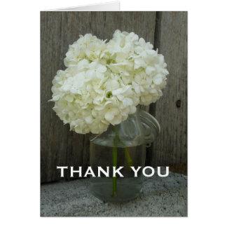 Pot d'hortensias et de carte de remerciements en