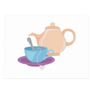 Pot et tasse de thé carte postale