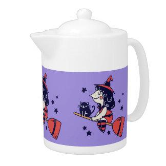 Pot mignon de thé de Halloween de sorcière