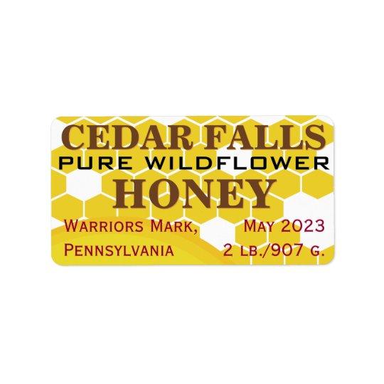 Pot pur de miel de fleur sauvage de point de étiquette d'adresse