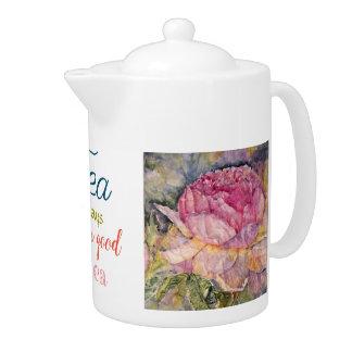 Pot rose de thé d'aquarelle de citation de thé