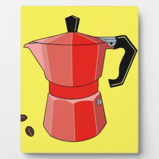 Pot rouge de café express d'arc-en-ciel plaque photo