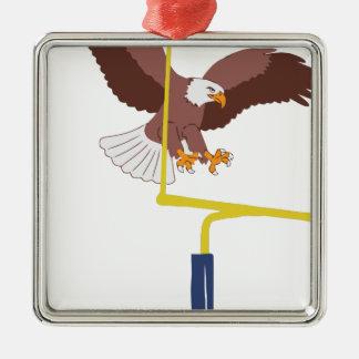 poteau de but d'aigle ornement carré argenté