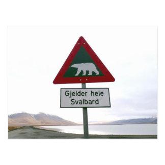 Poteau de signalisation de croisement d'ours blanc carte postale