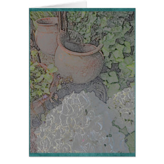 Pots d'argile et hortensia blanc carte de vœux