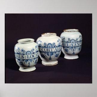 Pots de la drogue des apothicaires, c.1740 affiche