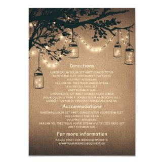 pots de maçon et lucioles épousant des cartes de carton d'invitation  11,43 cm x 15,87 cm