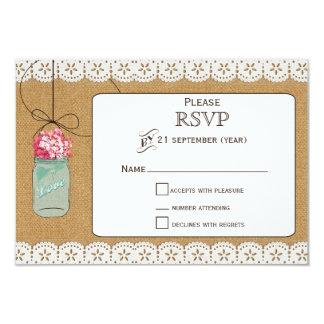 pots de maçon rustiques d'hortensia épousant RSVP Carton D'invitation 8,89 Cm X 12,70 Cm