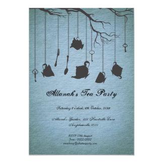 Pots et tasses et thé d'anniversaire d'Unbirthday Carton D'invitation 12,7 Cm X 17,78 Cm