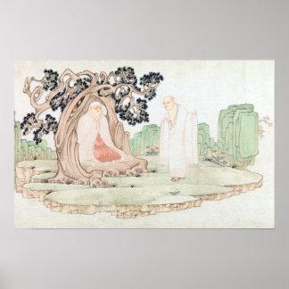Poubelle de Wu les seize Luohans Poster