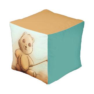 Pouf cubé illustré coloré - nounours