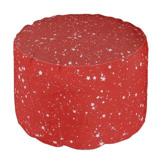 Pouf Étoiles de parties scintillantes - rouge argenté