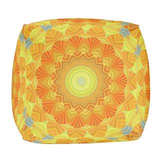 Pouf Kaléidoscope orange et jaune