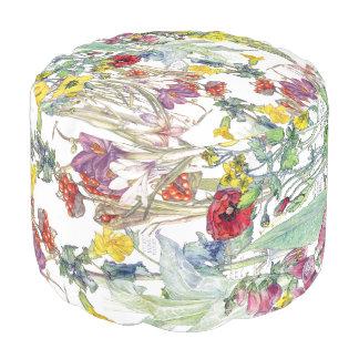 Pouf La digitale de crocus d'iris de pavot fleurit le