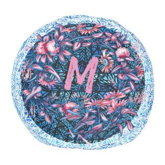Pouf La guirlande florale de fleur plante le monogramme