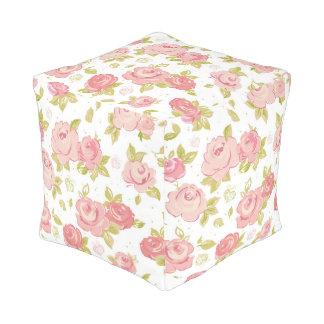 Pouf Motif de papier peint d'élégance des roses roses 3