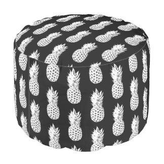 Pouf rond d'ananas de motif noir et rose