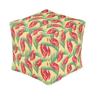 Pouf Série sans couture 4 de motif de feuille tropical