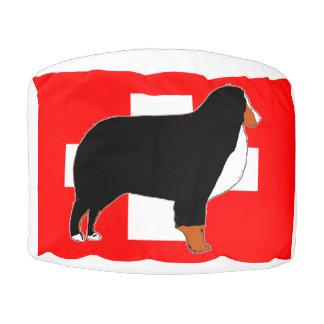 Pouf silhouette de chien de montagne bernese sur la