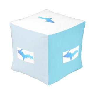 Pouf supérieur de cube en motif de la péninsule du