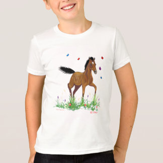 Poulain et chemise d'enfants de papillons t-shirt