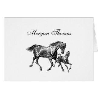 Poulain vintage de bébé de mère de chevaux cartes de vœux