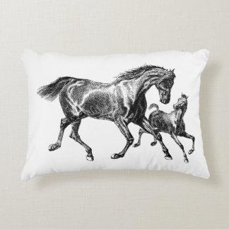 Poulain vintage de bébé de mère de chevaux coussins décoratifs