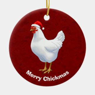 Poule blanche dans le casquette joyeux Chickmas de Ornement Rond En Céramique