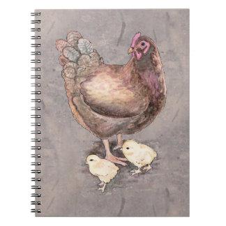 Poule de mère et aquarelle de poussins carnet