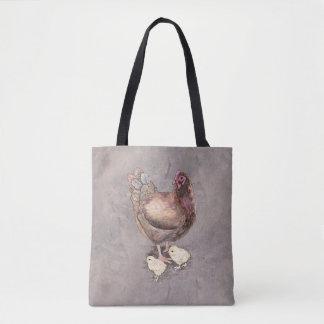 Poule de mère et aquarelle de poussins sac