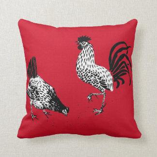Poule et coq oreillers