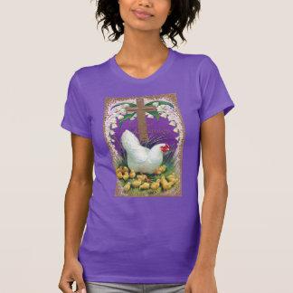 Poule, poussins et Pâques vintage croisée T-shirt