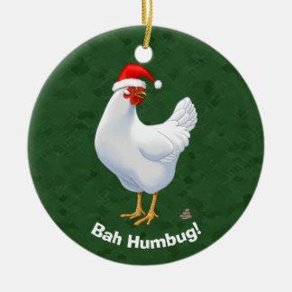Poulet fumiste drôle de Bah dans Noël de dunettes Ornement Rond En Céramique