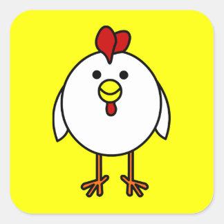 Poulet heureux mignon - carré jaune sticker carré