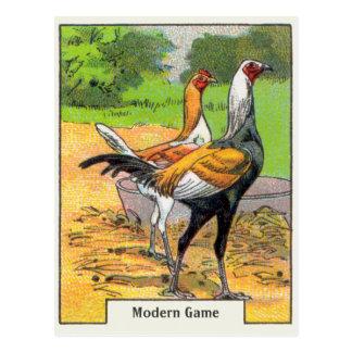 Poulet moderne vintage de jeu carte postale