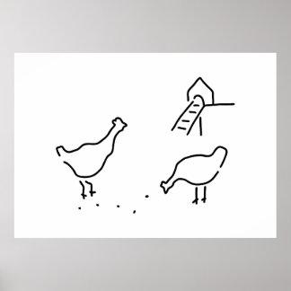 poulet poule de poulets cour poster
