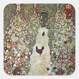 Poulets du chemin W de jardin, Gustav Klimt, art Sticker Carré