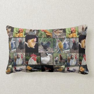 Poulets et coqs, collage, coussin lombaire