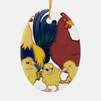 poulets ornement ovale en céramique