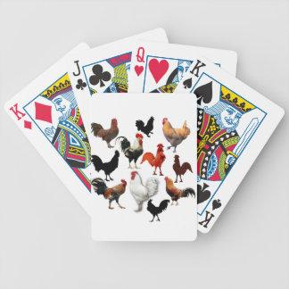 Poulets rustiques vintages de collage de coq jeu de cartes