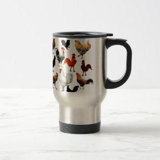 Poulets rustiques vintages de collage de coq mug de voyage