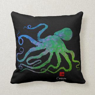 Poulpe 6 bleu/vert sur le noir - carreau oreillers