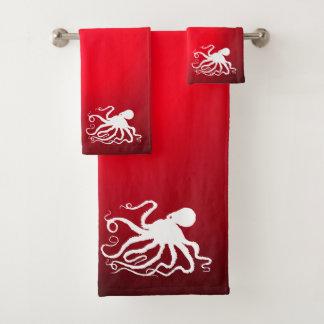 Poulpe 6 sur le rouge - ensemble de serviette de
