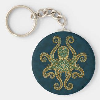 Poulpe bleu d'or complexe porte-clé rond