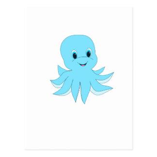 Poulpe bleu mignon carte postale