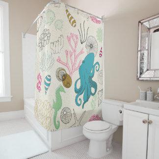 Poulpe dans la salle de bains ! Rideau en douche