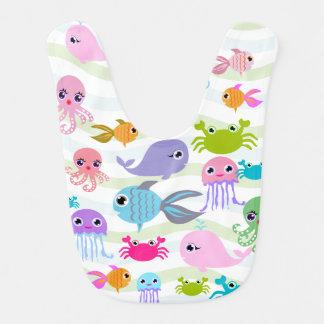 poulpe de mer d'océan, crabe, poisson, bavoir de